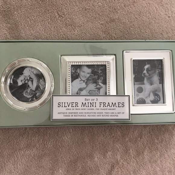RH: Set of 3 Silver mini picture frames NWT